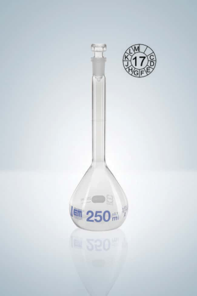 Hirschmann™ Class A Volumetric Flasks with Hollow Glass Stopper Capacity: 100mL; Socket Joint: 12/21 NS Standard Ground Hirschmann™ Class A Volumetric Flasks with Hollow Glass Stopper