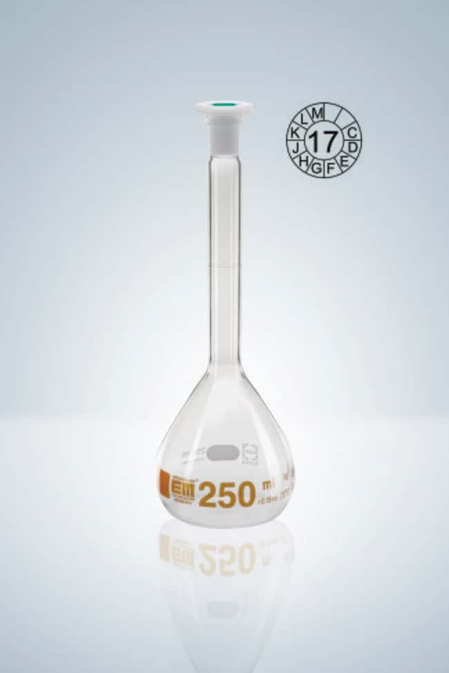 Hirschmann™ Class A Volumetric Flasks with Poly Stopper Capacity: 5mL; Socket Joint: 10/19 NS Standard Ground Hirschmann™ Class A Volumetric Flasks with Poly Stopper
