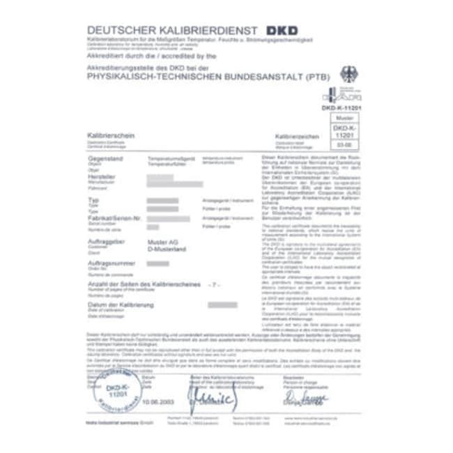 Julabo™DKD-5-Point Calibration Certificate Product Type: DKD-5-Point Calibration Certificate Julabo™DKD-5-Point Calibration Certificate