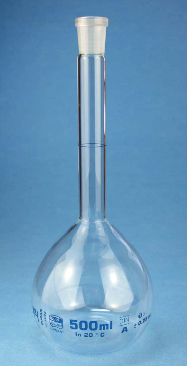 Karl Hecht™ Volumetric Flask, Conformity Certified Capacity: 25mL, Closure Size: NS 10/19, Neck Style: Standard, Tolerance: 0.04mL Karl Hecht™ Volumetric Flask, Conformity Certified