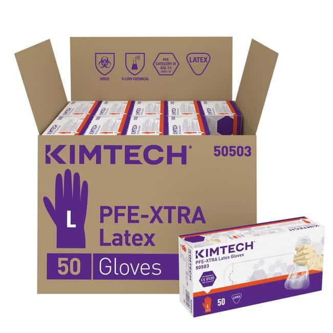Kimberly-Clark Kimtech PFE-Xtra Latex Ambidextrous Gloves Size: Large:Gloves,