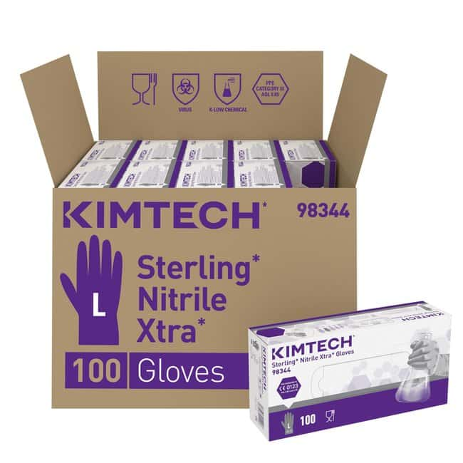 Kimberly-Clark™Kimtech™ Sterling™ Nitrile Xtra™ beidseitig tragbare Handschuhe – Grau Color: Grey; Cuff Style: Long beaded; Size: Large Produkte