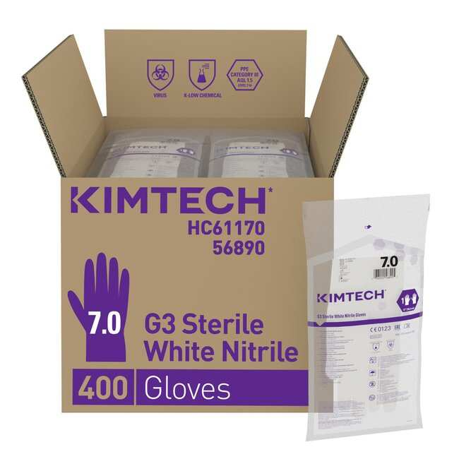 Kimberly-Clark™Kimtech™ G3 Sterile White Nitrile Hand Specific Gloves Size: 7 Kimberly-Clark™Kimtech™ G3 Sterile White Nitrile Hand Specific Gloves