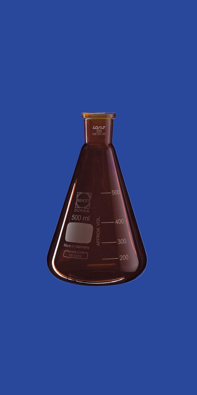 Lenz Laborglasinstrumente™Amber Erlenmeyer Flasks with Ground Joint Capacity: 250mL Erlenmeyer Flasks