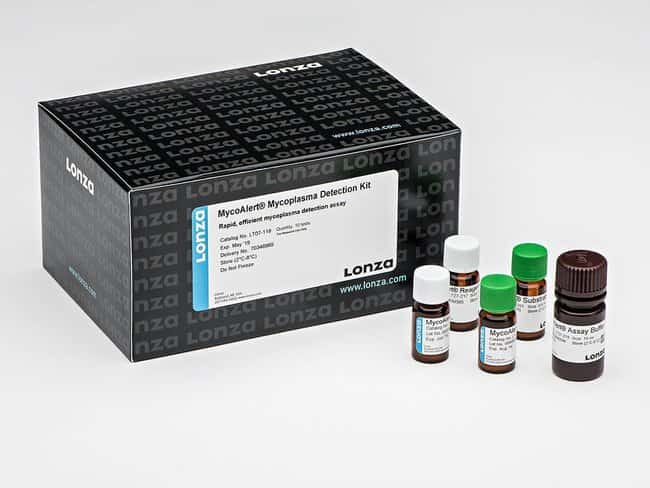 Lonza MycoAlert™ Mycoplasma Detection Kit (10 Tests) 2 x 600 μL MycoAlert Reagent (lyophilized), 2 x 600 μL MycoAlert Substrate (lyophilized), 1 x 10 mL MycoAlert Assay Buffer Contaminant Detection and Removal Reagents