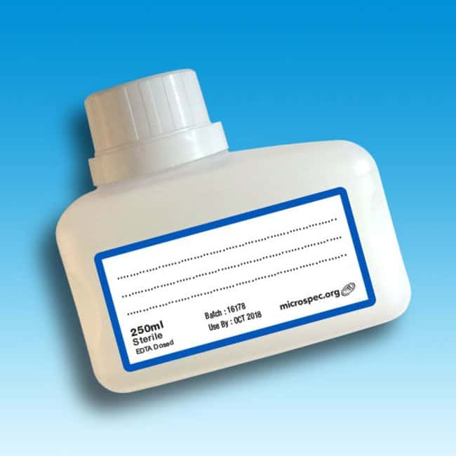 Microspec™ Sterile Cribbar Sample Bottles (Volume: 250mL) EDTA; Closure Color: White; Undosed products