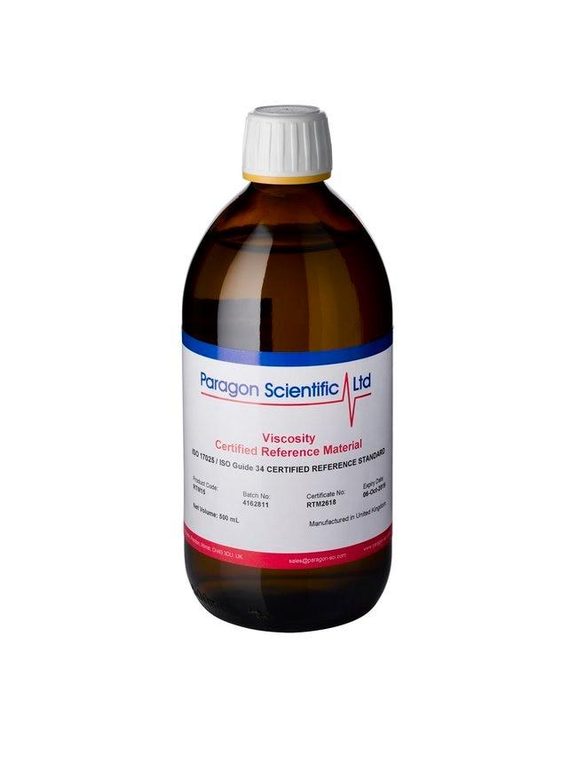 Paragon Scientific™Standard für die Rotationsviskosität von Mineralölen, UKAS ISO 17025/ISO 17034, Nennwert 389,1 mPa.s (25,00 °C), RTM20 Menge: 500ml Viskositäts-Standards