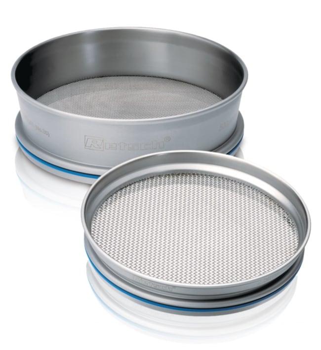 RETSCHTamis d'essai en acier inox 203,2x25,4mm (DiaxH), certificat ISO, tailles de pores: Moins de 10mm Taille des pores: 4mm RETSCHTamis d'essai en acier inox 203,2x25,4mm (DiaxH), certificat ISO, tailles de pores: Moins de 10mm