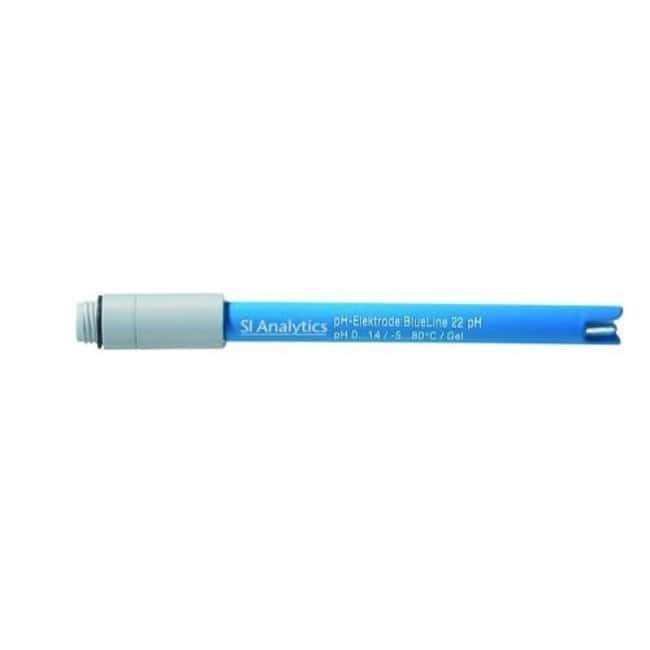 SI Analytics™ BlueLine pH Combination Electrode with Cylindrical Membrane Connector Type: 1m Fixed Cable With DIN +2mm Pin Plug SI Analytics™ BlueLine pH Combination Electrode with Cylindrical Membrane
