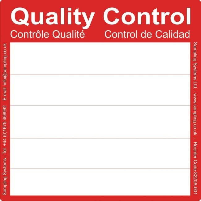 Sampling Systems™Ultra Adhesive (UA) Quality Control Labels 150 x 150mm Color: Red Sampling Systems™Ultra Adhesive (UA) Quality Control Labels 150 x 150mm