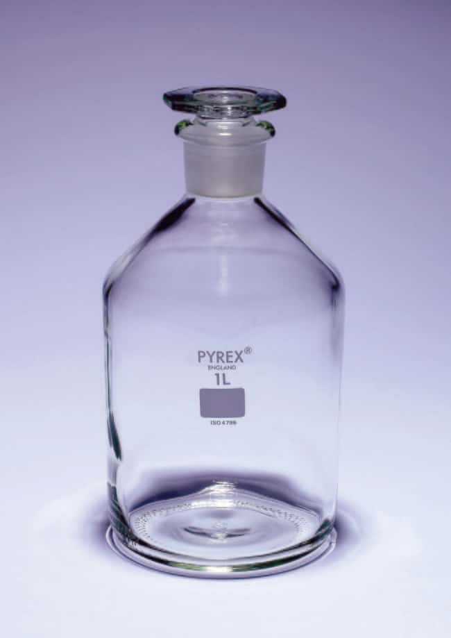 Pyrex™ Borosilicate Glass Narrow Mouth Reagent Bottles with Glass Stopper Capacity: 2000mL; Dimensions: 138 dia. x 262mmH Pyrex™ Borosilicate Glass Narrow Mouth Reagent Bottles with Glass Stopper