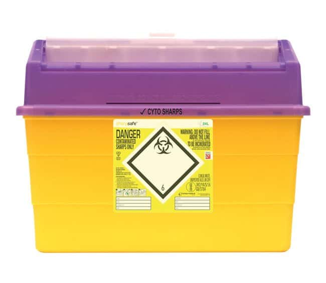 Sharpsafe™ Sharps Bin, Cytotoxic and Cytostatic Waste for Incineration: Sharps Destruction Equipment Hazardous Materials Storage and Disposal