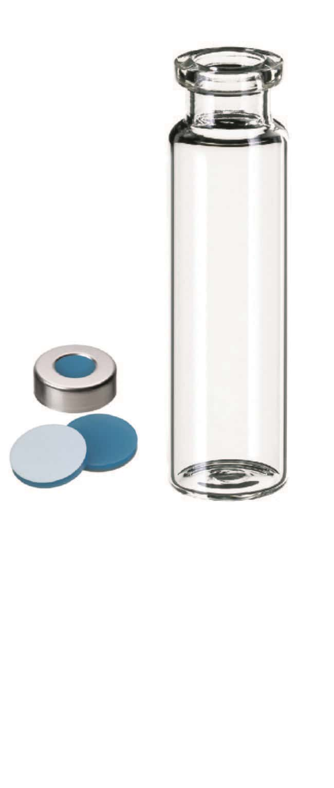 Fisherbrand™20mm Crimp Cap Vial Kit, Headspace, Clear Glass, Aluminium Cap, Silicone/PTFE septum, Pre-crimped 20mL, 3.0 mm thickness,45° shore A Fisherbrand™20mm Crimp Cap Vial Kit, Headspace, Clear Glass, Aluminium Cap, Silicone/PTFE septum, Pre-crimped