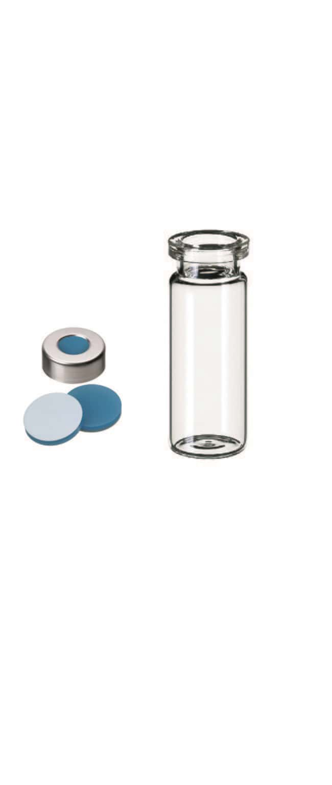 Fisherbrand™ 20mm Crimp Cap Vial Kit, Headspace, Clear Glass, Aluminium Cap, Silicone/PTFE septum, Pre-crimped 10mL,3.0 mm thickness,45° shore A Fisherbrand™ 20mm Crimp Cap Vial Kit, Headspace, Clear Glass, Aluminium Cap, Silicone/PTFE septum, Pre-crimped