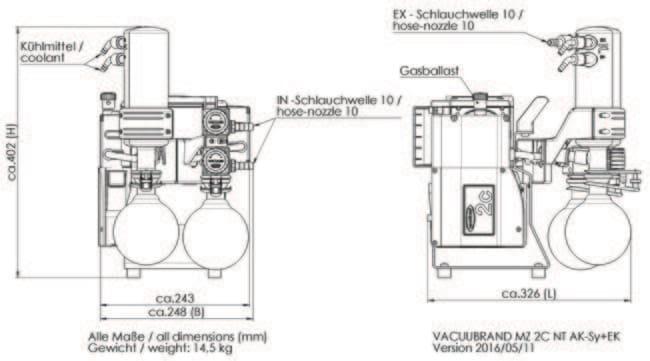 VACUUBRAND™MZ2C NT Synchro Trockenchemie-Multitasking-Vakuumsystem 230V; CEE plug VACUUBRAND™MZ2C NT Synchro Trockenchemie-Multitasking-Vakuumsystem