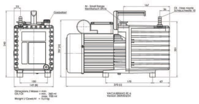 VACUUBRAND™RE 6 Model One-stage Rotary Vane Pump Plug Type: CEE VACUUBRAND™RE 6 Model One-stage Rotary Vane Pump