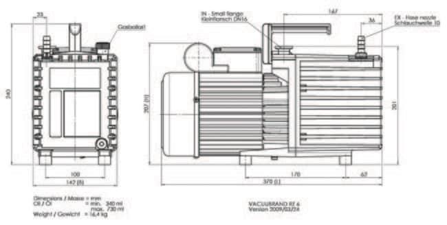VACUUBRAND™RZ6 Drehschieberpumpe Enthält: Abluftfilter und CH, CN-Stecker VACUUBRAND™RZ6 Drehschieberpumpe