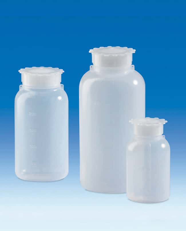 VITLAB™ LDPE Wide Mouth Bottles, with sealing plug and screw cap Closure size: 36; Dimensions: 75 dia x 160mmH; Capacity: 500mL VITLAB™ LDPE Wide Mouth Bottles, with sealing plug and screw cap