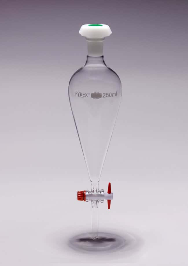Pyrex™ Conical Glass Funnel with PTFE Key: Funnels and Filtration Beakers, Bottles, Cylinders and Glassware