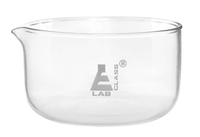 Eisco Flat Bottom Glass Crystallizing Dishes with Spout  500 mL, 115 mm:Dishes,