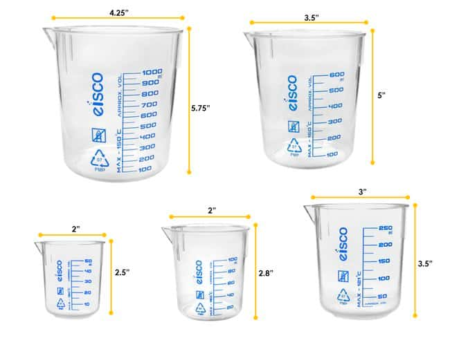 Eisco  TPX Beakers with Printed Graduations and Spout
