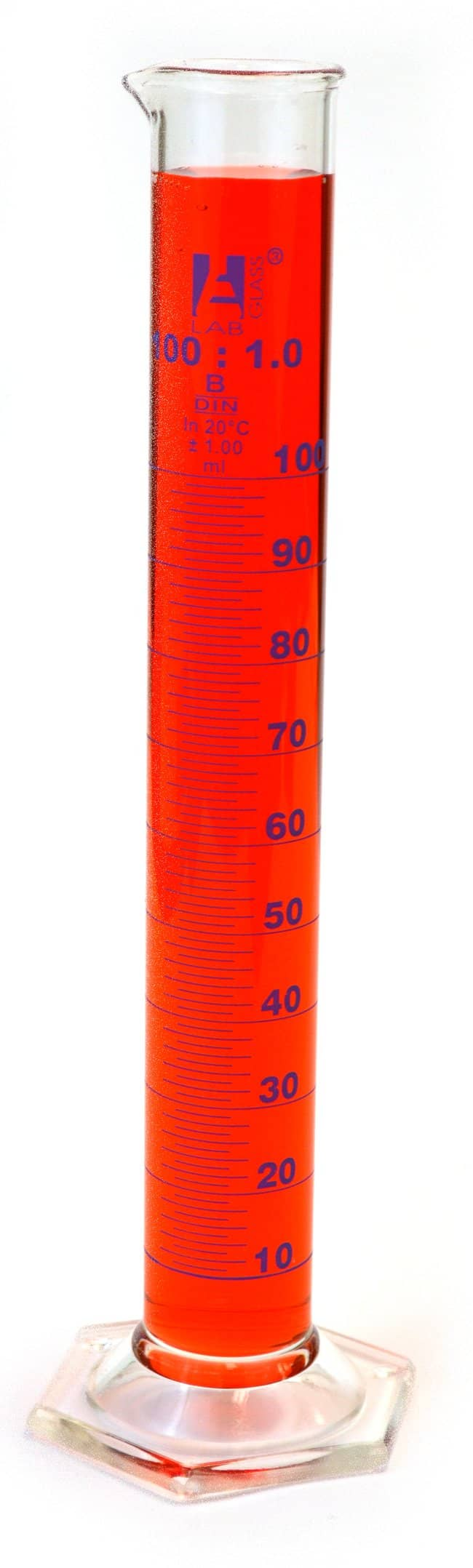 "Eisco™ Graduated Cylinder, class ""B"" Borosilicate Glass, Hex. base with spout"