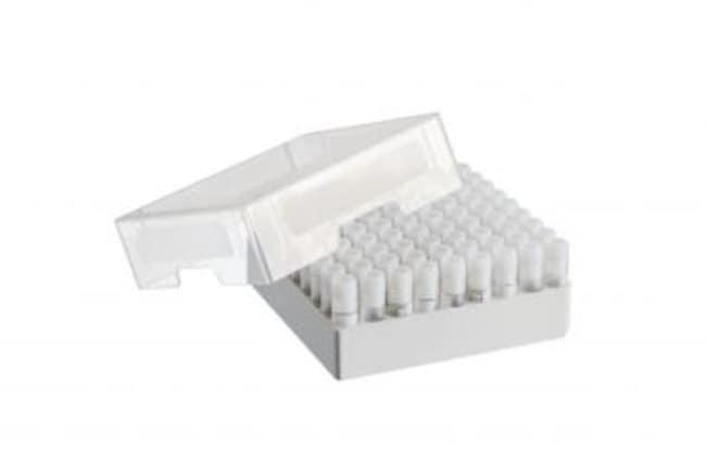 Eppendorf™Boîtes de stockage Accueillent les articles suivants: 81tubes cryogéniques (1 à 2ml) avec bouchon à vis; Hauteur: 52,8mm (2po); Nb. de racks: 9X9; Conditionnement: 3pièces/boîte Eppendorf™Boîtes de stockage