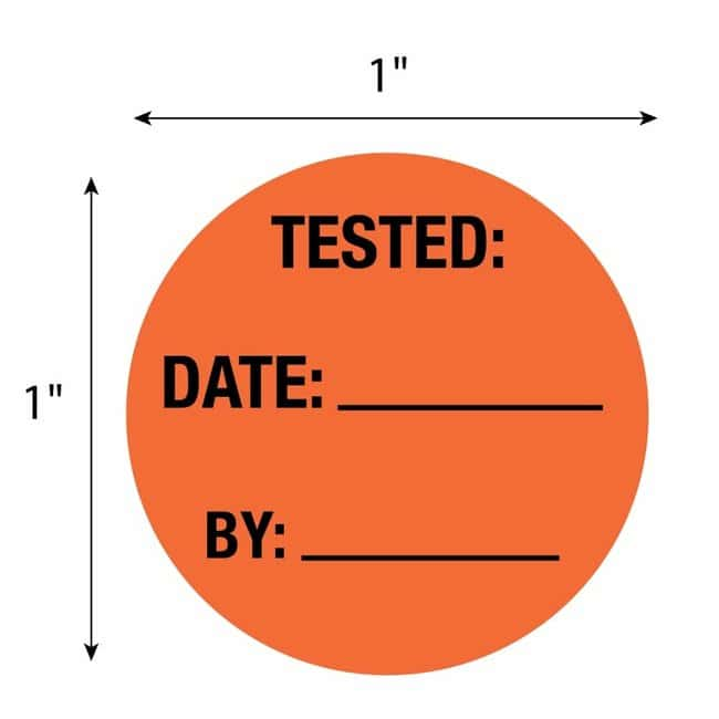 FisherbrandTested Date By Circle Label Orange:Facility Safety and Maintenance