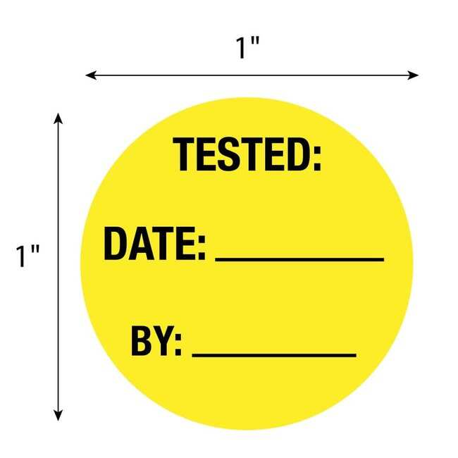 FisherbrandTested Date By Circle Label Yellow:Facility Safety and Maintenance