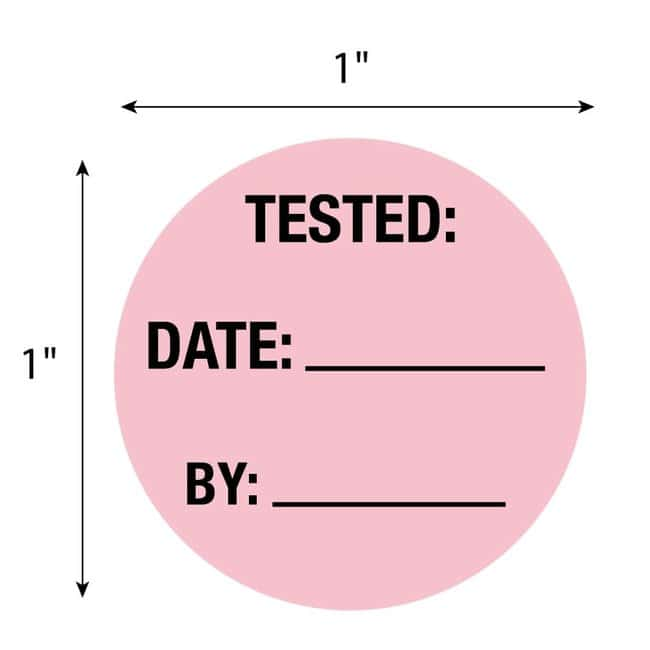 FisherbrandTested Date By Circle Label Pink:Facility Safety and Maintenance