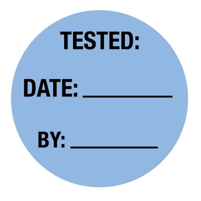 FisherbrandTested Date By Circle Label Blue:Facility Safety and Maintenance