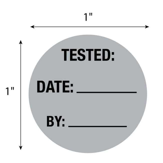 FisherbrandTested Date By Circle Label Gray:Facility Safety and Maintenance