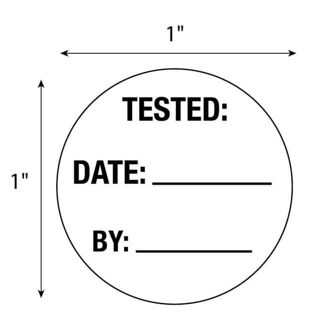 FisherbrandTested Date By Circle Label White:Facility Safety and Maintenance