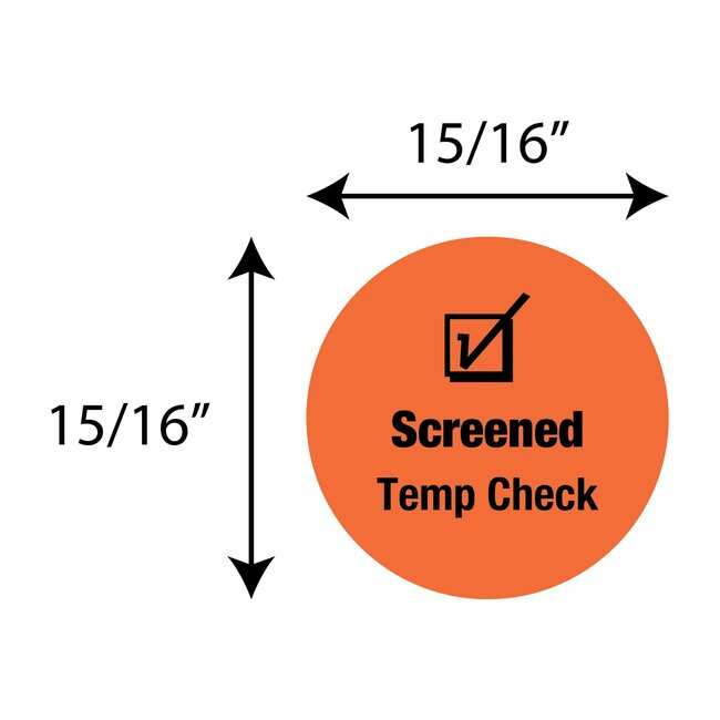 FisherbrandScreened Temp Check Circle Label Orange:Facility Safety and