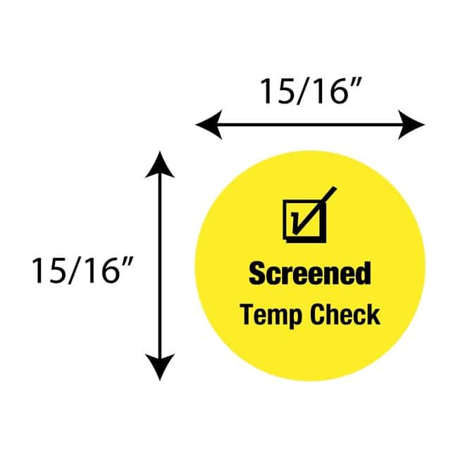 FisherbrandScreened Temp Check Circle Label Yellow:Facility Safety and
