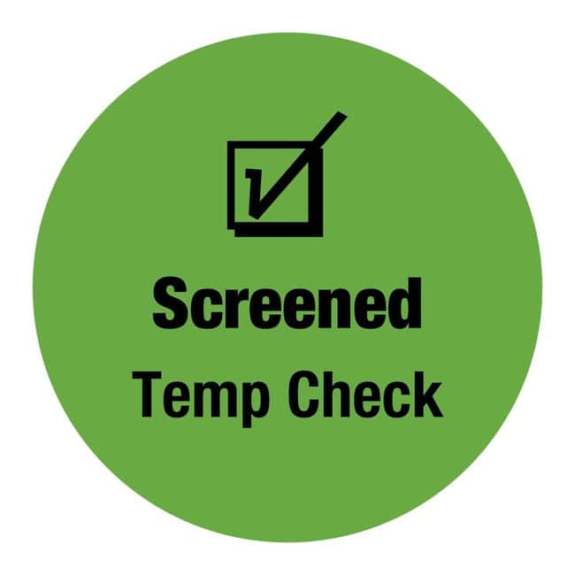 FisherbrandScreened Temp Check Circle Label:Facility Safety and Maintenance:Labels