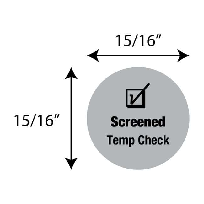 FisherbrandScreened Temp Check Circle Label Gray:Facility Safety and Maintenance