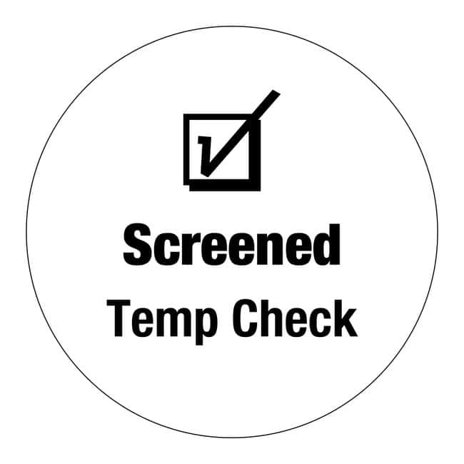 FisherbrandScreened Temp Check Circle Label White:Facility Safety and Maintenance