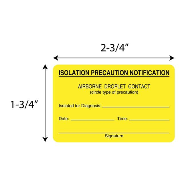 FisherbrandIsolation Precaution Notification Square Label Square:Facility