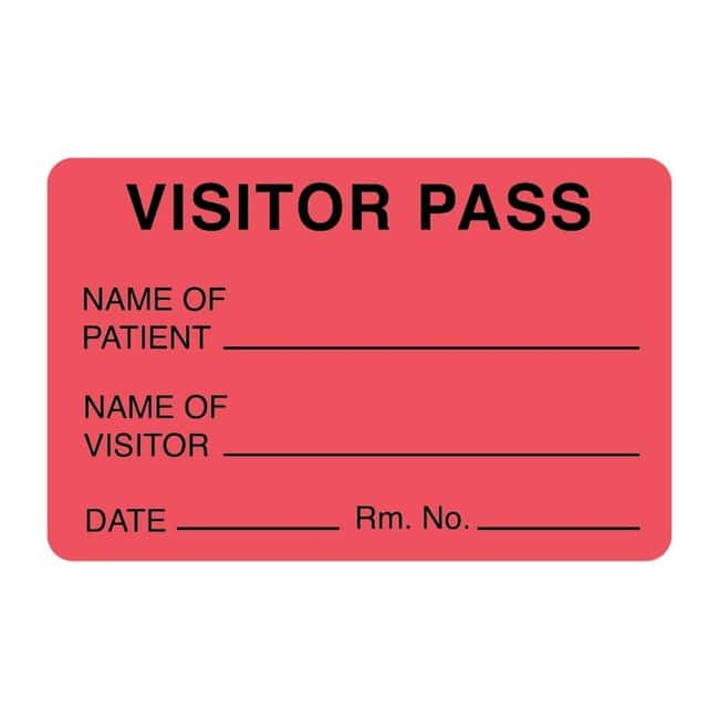FisherbrandVisitor Pass Label Red:Facility Safety and Maintenance