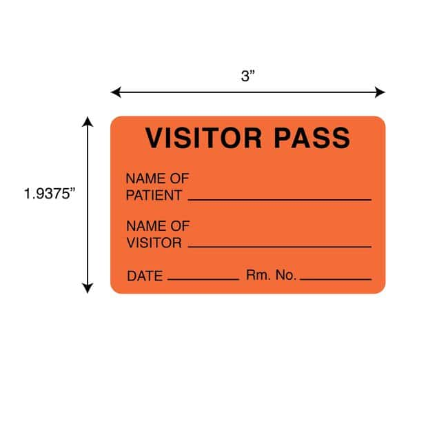 FisherbrandVisitor Pass Label Orange:Facility Safety and Maintenance