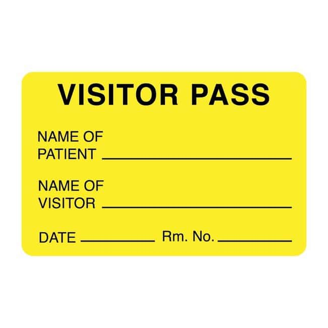 FisherbrandVisitor Pass Label Yellow:Facility Safety and Maintenance