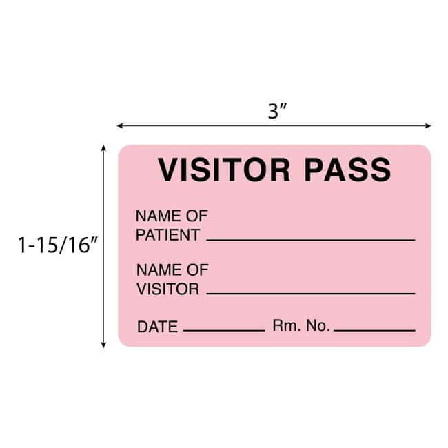 FisherbrandVisitor Pass Label Pink:Facility Safety and Maintenance