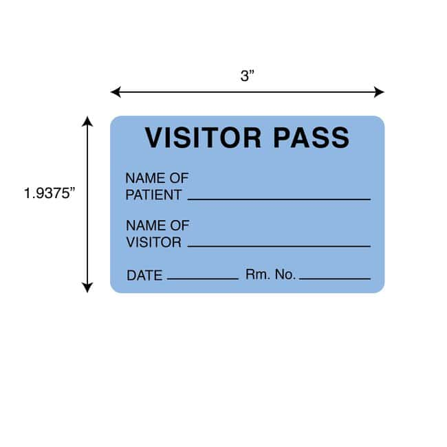 FisherbrandVisitor Pass Label Blue:Facility Safety and Maintenance