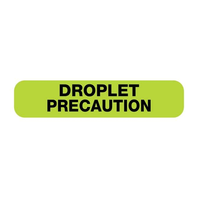 FisherbrandDroplet Precaution Flourescent Label Green:Facility Safety and
