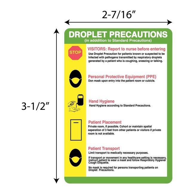 FisherbrandDroplet Precaution Information Label 3-1/2 x 2-7/16 in.:Facility