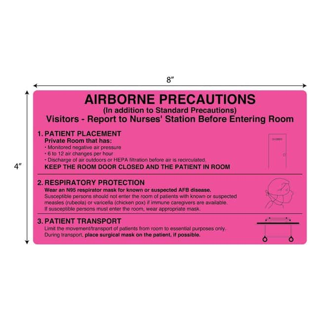 FisherbrandAirborne Precautions Information Flourescent Label Pink:Facility