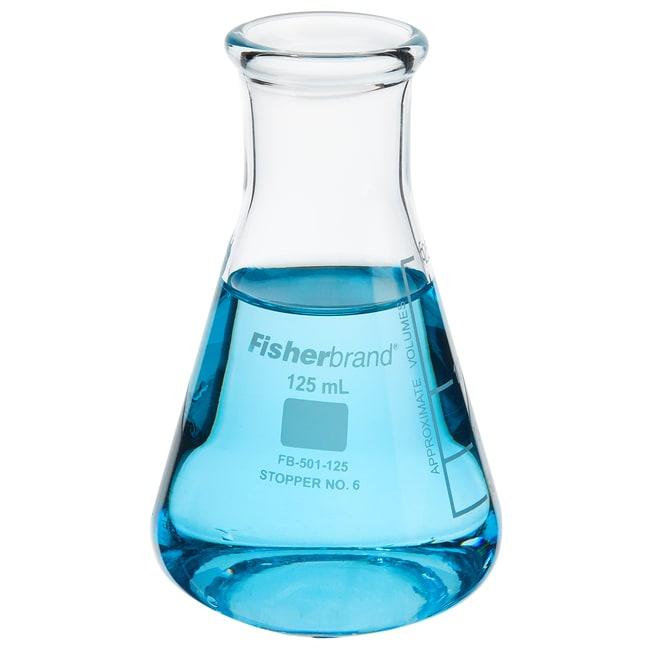 FisherbrandReusable Glass Wide-Mouth Erlenmeyer Flasks 125mL; Graduated