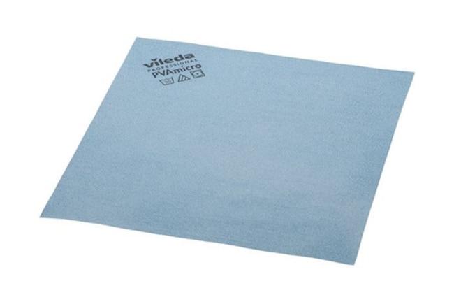 Vileda Professional PVAmicro Cloth Size: 13x15in; Blue; 5/Pk, 20pks/CS.:Gloves,
