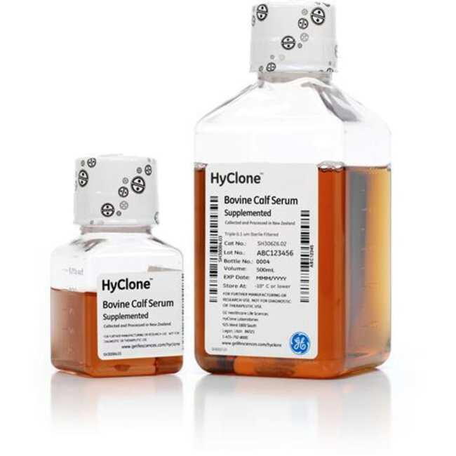 Cytiva (Formerly GE Healthcare Life Sciences) HyClone™ Iron-Supplemented Newborn Bovine Calf Serum, New Zealand Origin Quantity: 1000 mL, dimProductType: Heat Inactivated Iron-Supplemented Newborn Bovine Calf Serum, New Zealand Origin Cytiva (Formerly GE Healthcare Life Sciences) HyClone™ Iron-Supplemented Newborn Bovine Calf Serum, New Zealand Origin